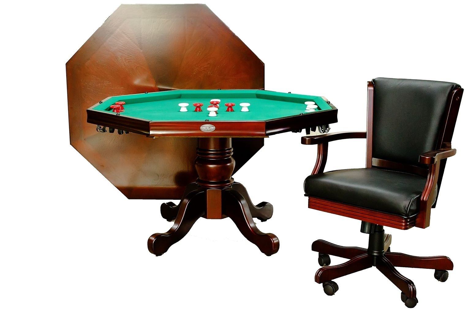 3 in 1 Game Table - Octagon 54'' Bumper Pool, Poker & Dining with 4 Chairs in Mahogany By Berner Billiards