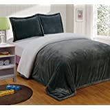 Chezmoi Collection Micromink Sherpa Reversible Throw Blanket (Queen, Gray)