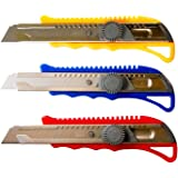 Pro Quality Utility Knife Box Cutter Set (3 Pack) - Heavy Duty Industrial Strength Cutters - Retractable Razor Blades