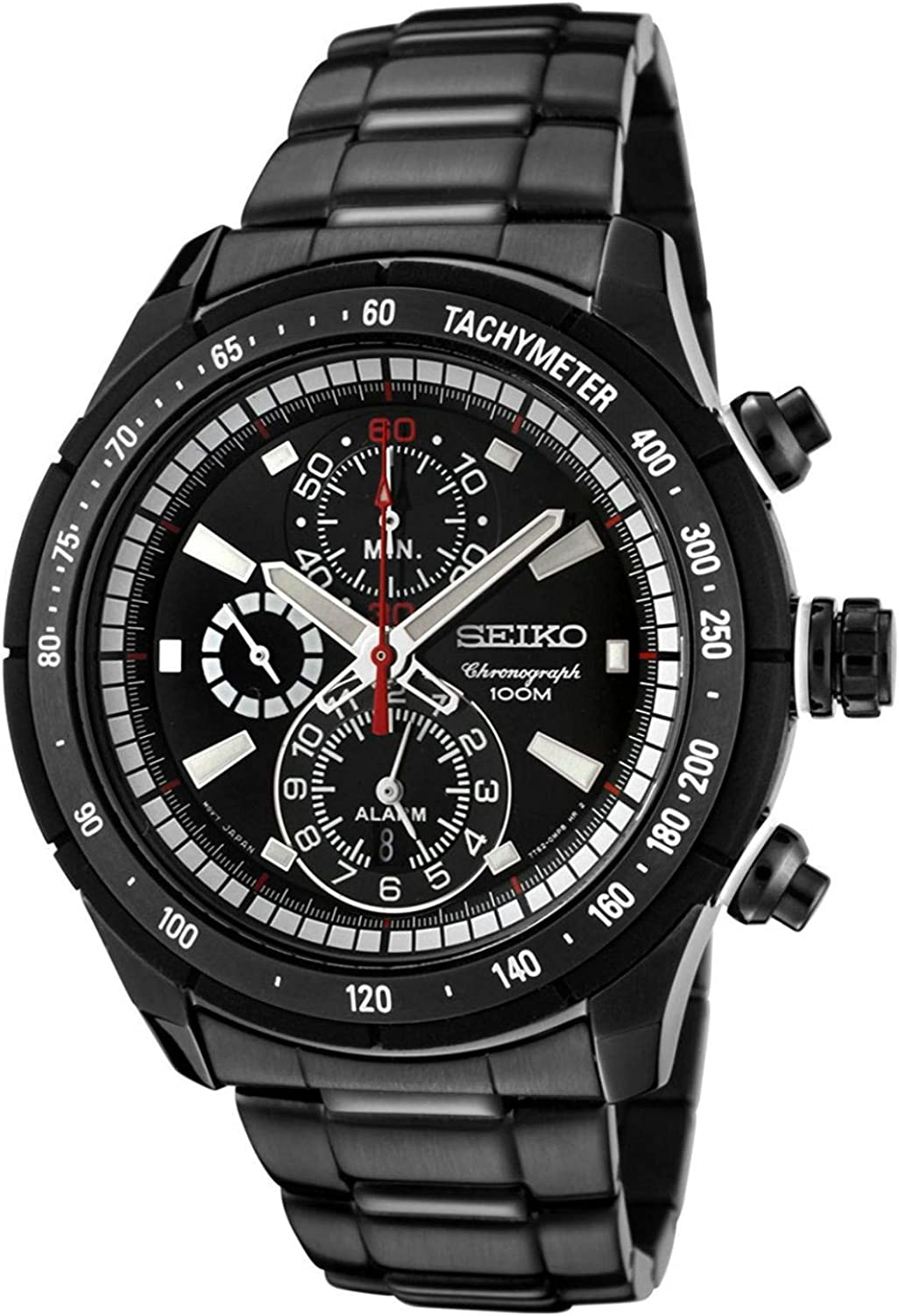 Men s Stainless Steel Alarm Chronograph Black Dial