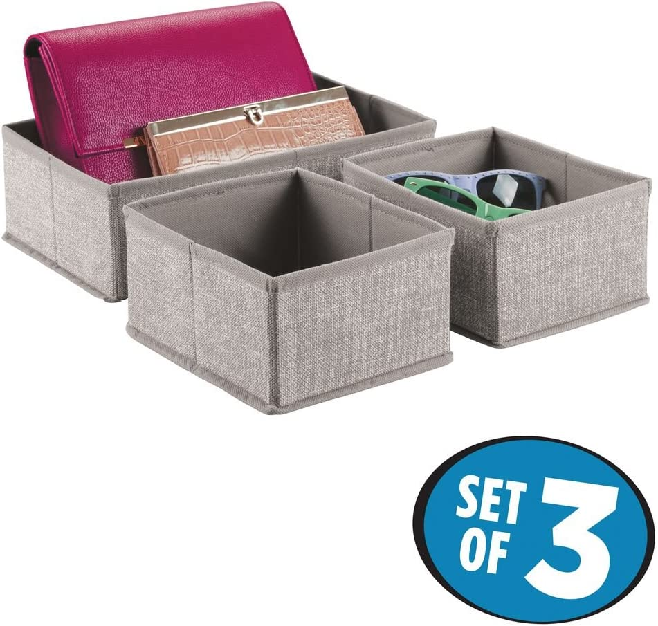 Taupe//Natural Large Polypropylene Drawer Tidy With 16 Compartments iDesign Axis Drawer Organiser Fabric Storage Box