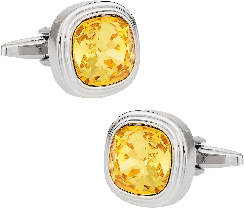 Cuff-Daddy Swarovski Sunflower Yellow Crystal Cufflinks with Presentation Box