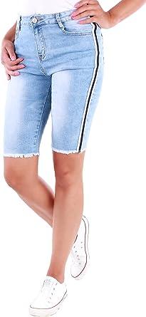 21f37d85b71187 Black Denim Damen Stretch Jeans Hose Hochschnitt Streifen Shorts Damenjeans  Damenshorts D8-5 (XS