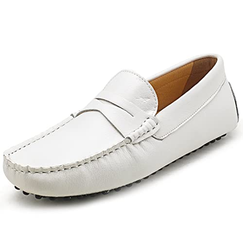 Ausland - Mocasines hombre, color blanco, talla 42: Amazon.es: Zapatos y complementos