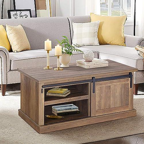 Best living room table: Pellebant 39.5 Inch Modern Wood Coffee Table