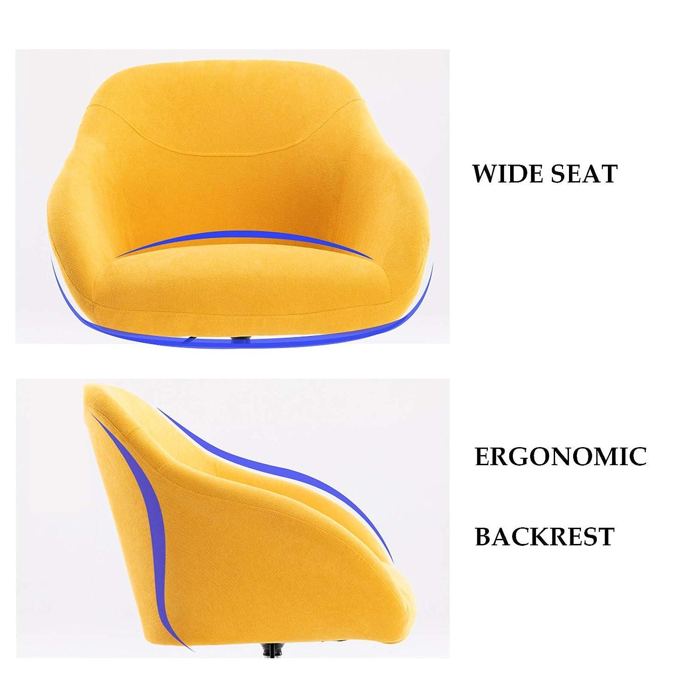 Ergonomiska skrivbordsstolar 360 grader rotation säte mitten av ryggen dator kontor stol ländrygg stöd justerbar höjd (linne tyg) GUL