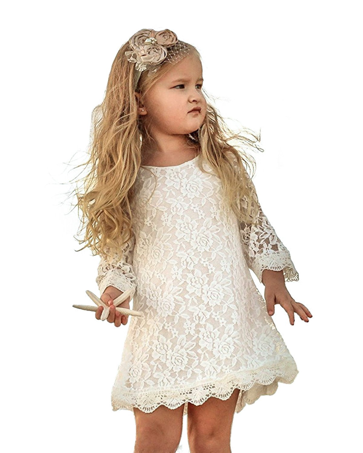Tkiames Girls Easter Flower Lace Party Wedding Princess Dress 2-8Y