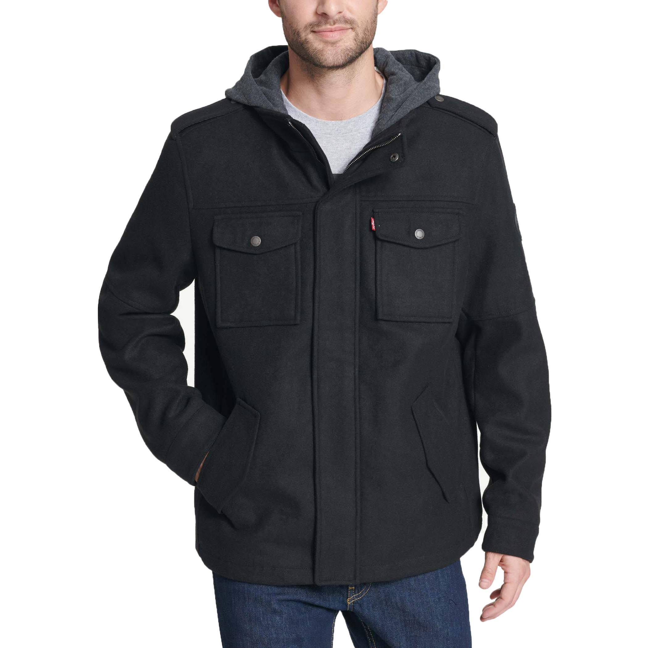Levi's Men's Wool Blend Military Jacket with Hood, Black, Large by Levi's