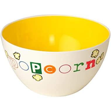 """Wabash Valley Farms Fun Time Popcorn Bowl- Festive Plastic Serving Dish, Reads """"Popcorn"""" on the Outside with a Bright Yellow Inside, Perfect for Family Movie Night, As a Gift and More - 6-Quarts"""