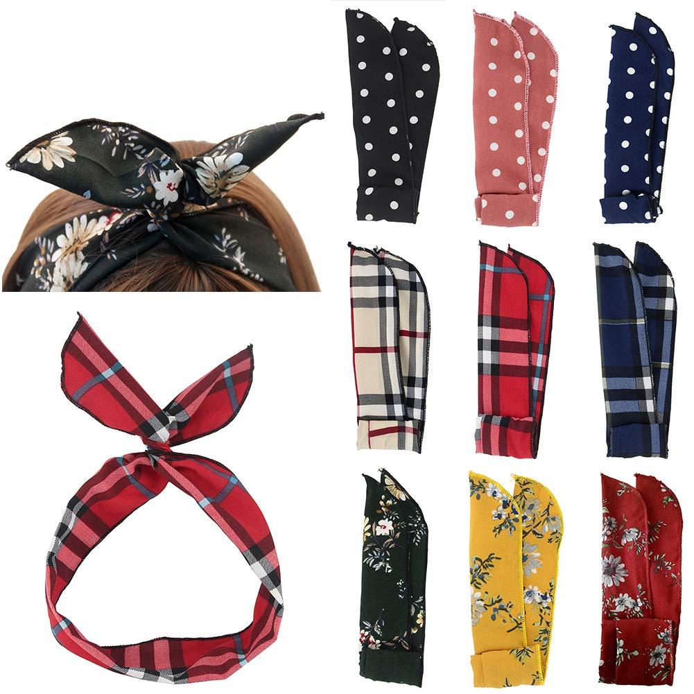 Carede Twist Bow Wire Headbands Head Wrap Retro Bowknot Polka Dot Lattice  Design Rabbit ear Wired 56279861b59