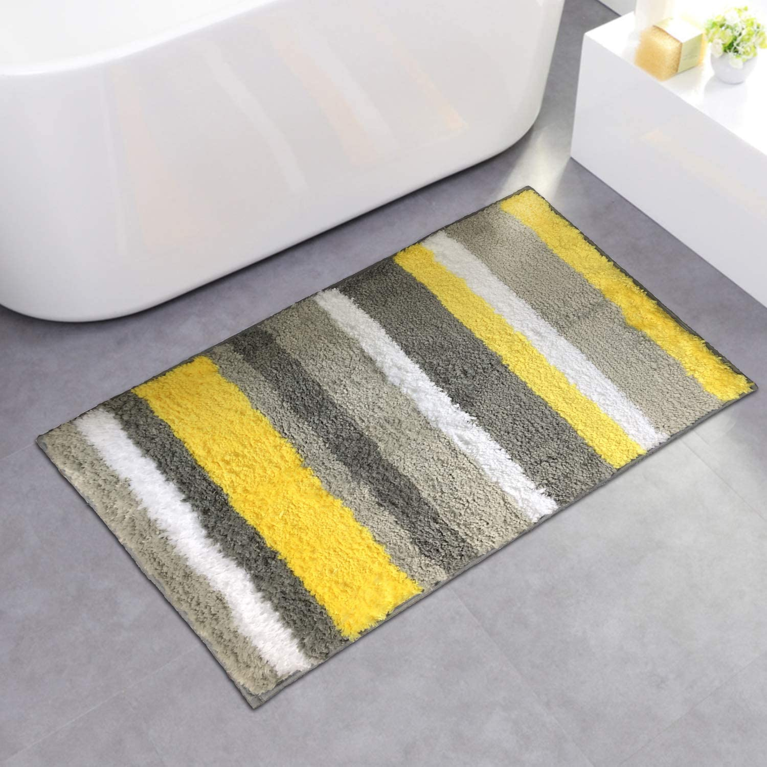 """NC HOME Striped Soft Shaggy Bathroom Rugs Non Slip Bath Mat for Kitchen Bedroom, Strong Underside, Plush Carpet Mats for Tub for Kids (20"""" x 31.5"""", Yellow)"""
