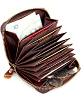Everdoss RFID Card Holder Genuine Leather Wallet for Men Personalized Mini Purse