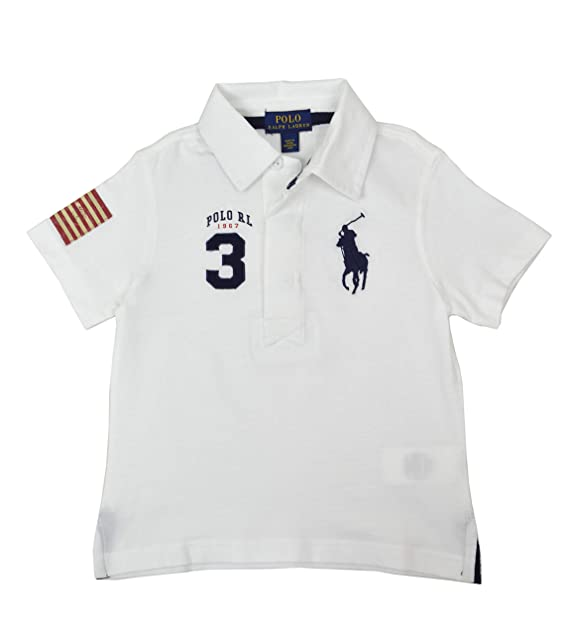 eeaf5d935 Polo Ralph Lauren Boys Big Kids Big Pony USA Polo Shirt White Blue (Small (