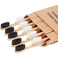 Bamboo Toothbrushes (10 Pack), Soft Charcoal Infused Bristles Soft BPA Free 2 Color Safe Bristles Biodegradable Bamboo…
