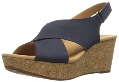 Clarks Womens Annadel Eirwyn Wedge Sandal Navy Nubuck 12 W US