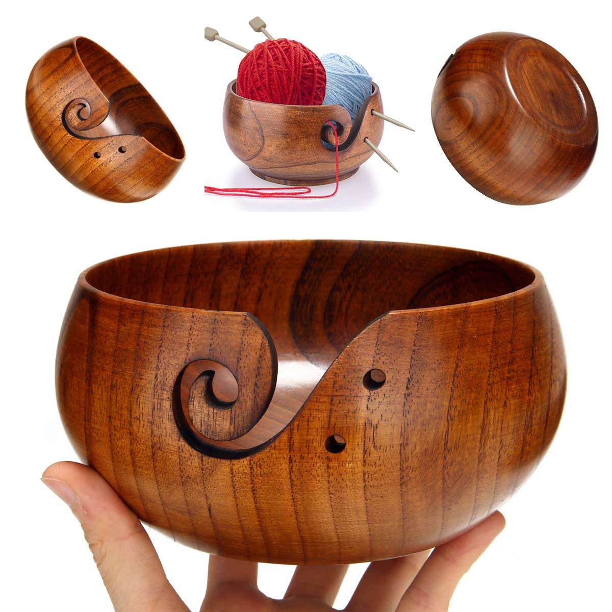 Freyamall Wooden Yarn Bowl with Holes Holder Handcrafted Knitting Yarn Needlework Crochet Storage Organizer, Perfect for Christmas Day!