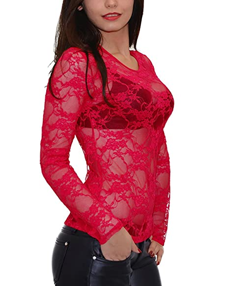 ZANZEA Women s Lace Crew Neck Transparent Mesh Long Sleeve Tops Shirt Blouse  Rose ... 7efbdd7aed