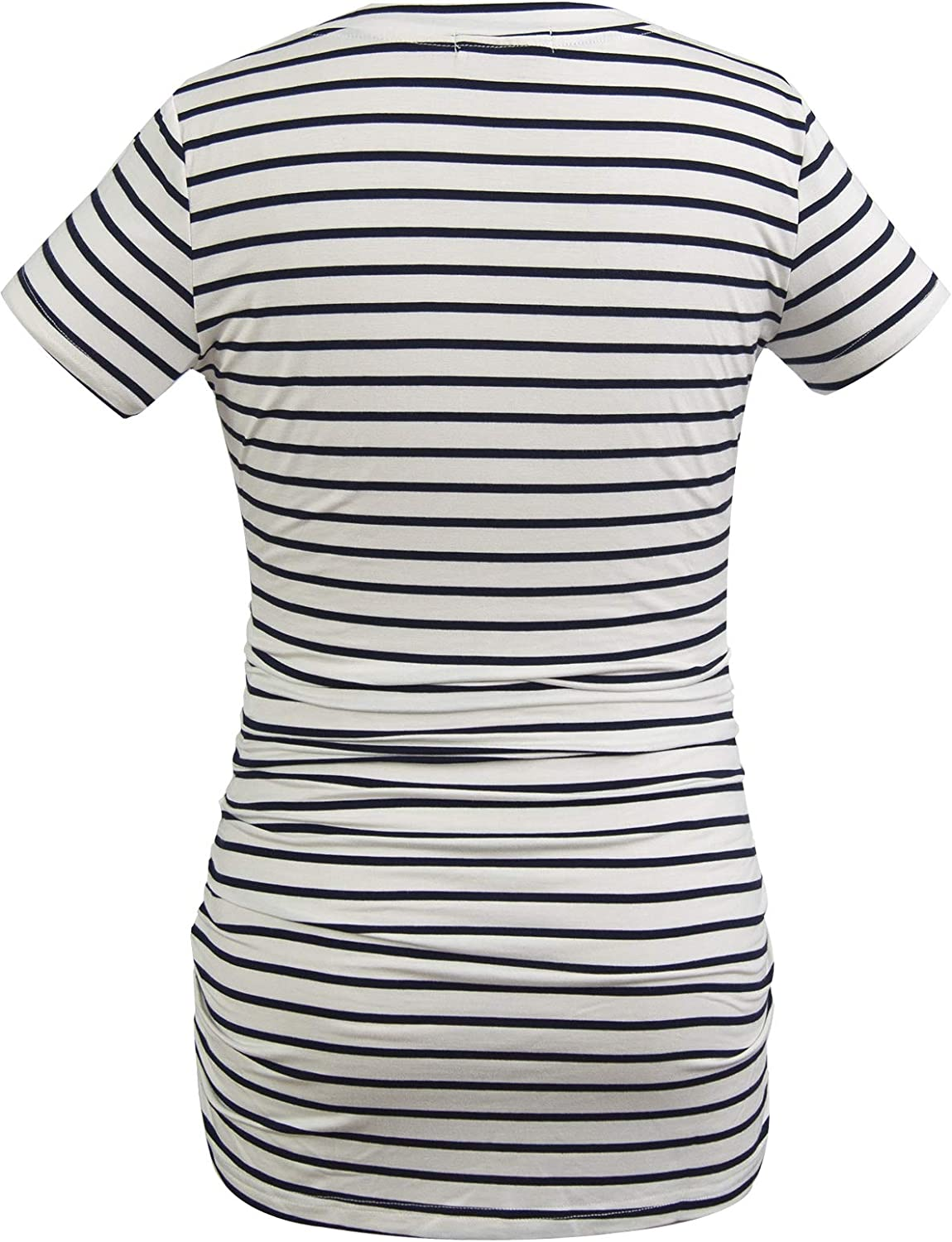 Smallshow Womens V Neck Maternity Clothes Tops Side Ruched Pregnancy T Shirt