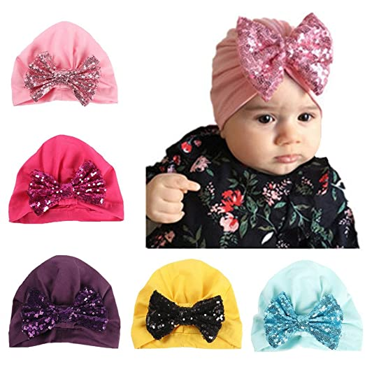 a02426f0f08 Ademoo Baby Girls Hat with Sequin Bow Toddler Infant Turban Caps (5 Pack)
