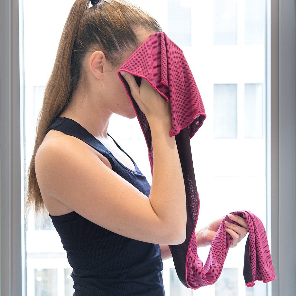 2x Kühlendes Sporthandtuch aus Microfaser Sport Tuch Kühlung Fitness Handtuch