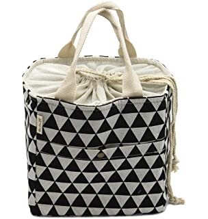 1e1d6a22a813 Funnuf Insulated Lunch Tote Bag Reusable Drawstring Travel Picnic ...