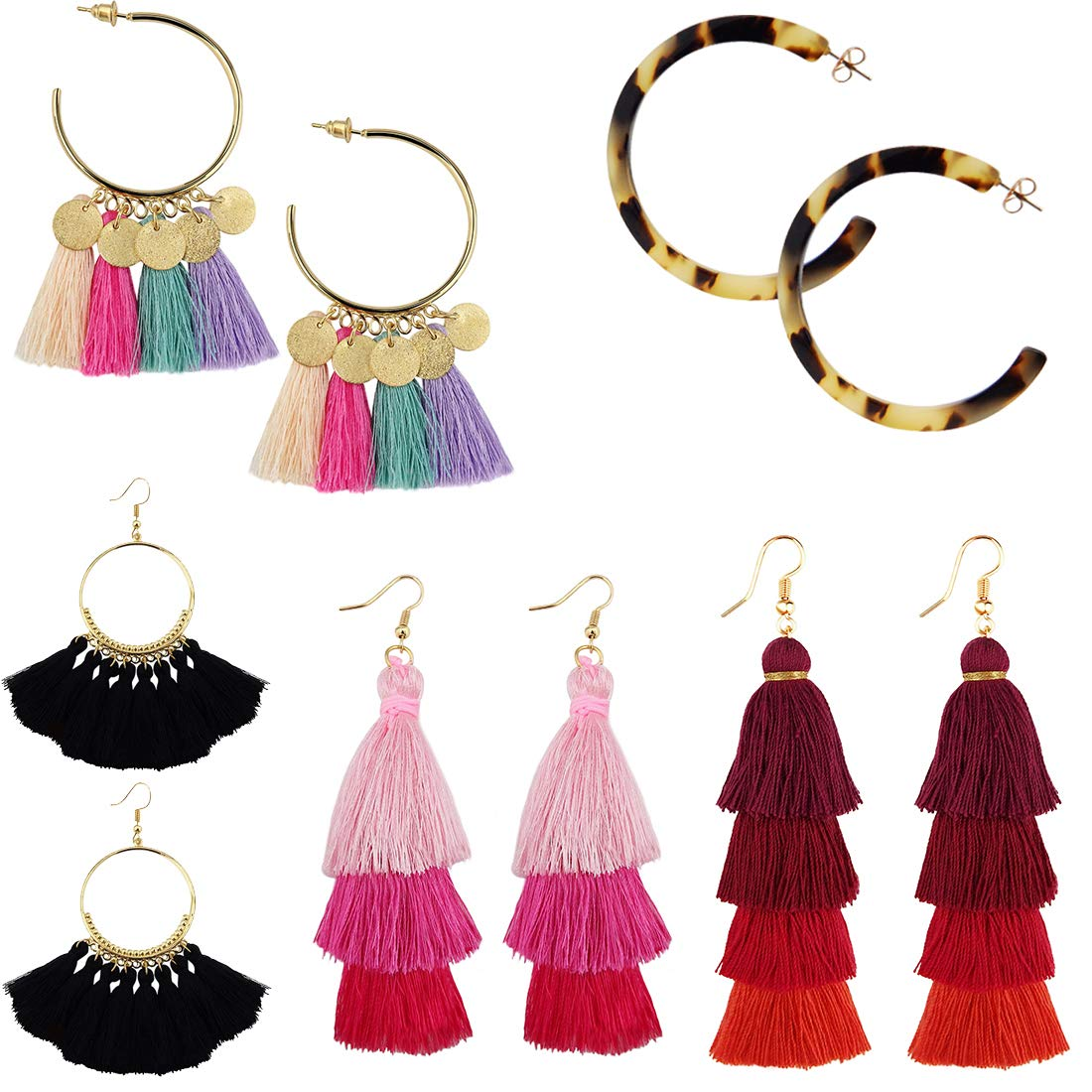 Burning Love 5 Pairs Tassel Earrings For Women Girls,Long&Layers&Hoop Drop Dangles Red Pink Black Tassel Earrings BLTE1