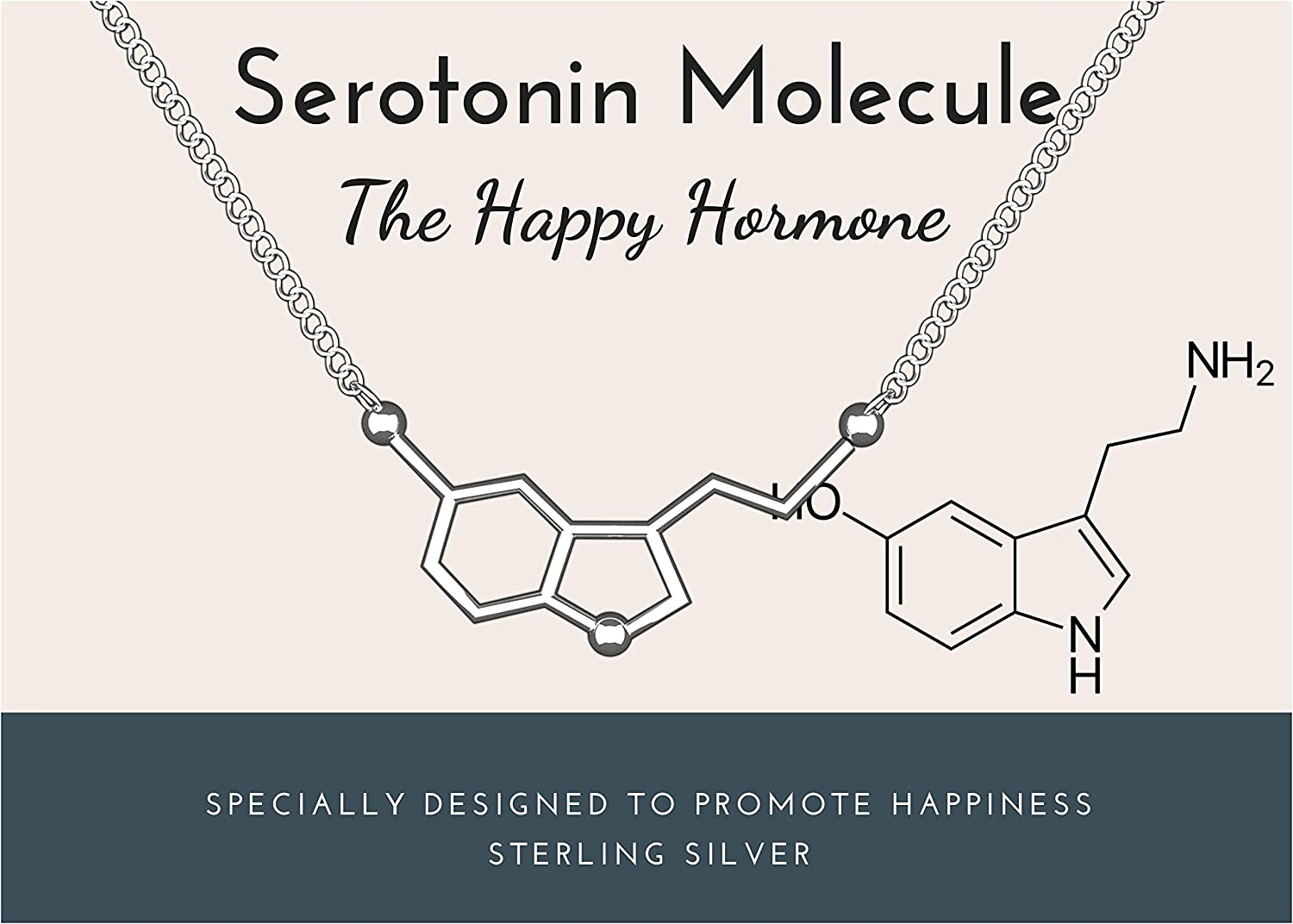 Rosa Vila Happiness Serotonin Molecule Necklace Women, Solid 925 Sterling Silver, Ideal Gift Necklaces For Teacher, Professor, Chemistry Graduates, Science Jewelry Lovers (Sterling Silver)