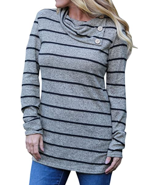 Smalltile Primavera y Otoño Mujeres Tops Moda Clásico Rayas Pulóver Blusa tee Jumpers Casual Camisetas de Manga Larga T-Shirt Sudaderas: Amazon.es: Ropa y ...
