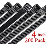 Harileminy 4 Inch Cable Zip Wire Ties Heavy Duty 200 Pieces Self-Locking Ultra Strong tiny Small Plastic Wire Ties Tensile Strength Nylon Cable Tie Wraps Width in Black White UV Resistant