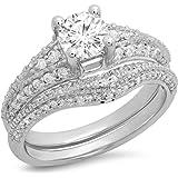 1.35 Carat (ctw) 14K Gold Round Cut White Diamond Ladies Bridal Vintage Style Engagement Ring Set