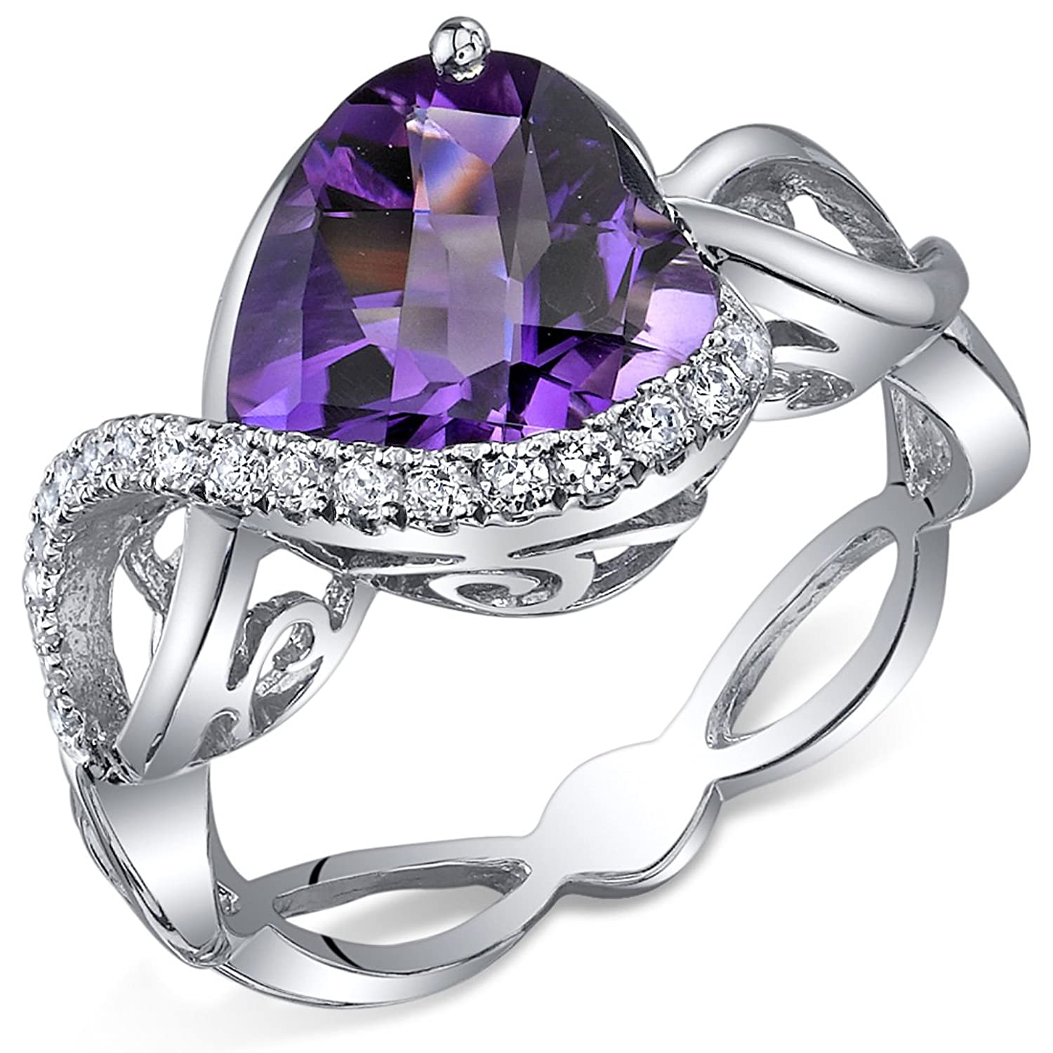 3.00 Carats Amethyst Ring Sterling Silver Heart Shape Swirl Design Sizes 5 to 9