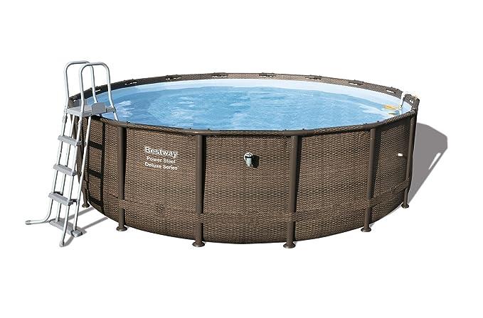 Bestway Power Steel Deluxe Series Pool Set 488 x 122 cm, Marco de Acero Juego de Piscina con Bomba de Filtro y Accesorios: Amazon.es: Jardín