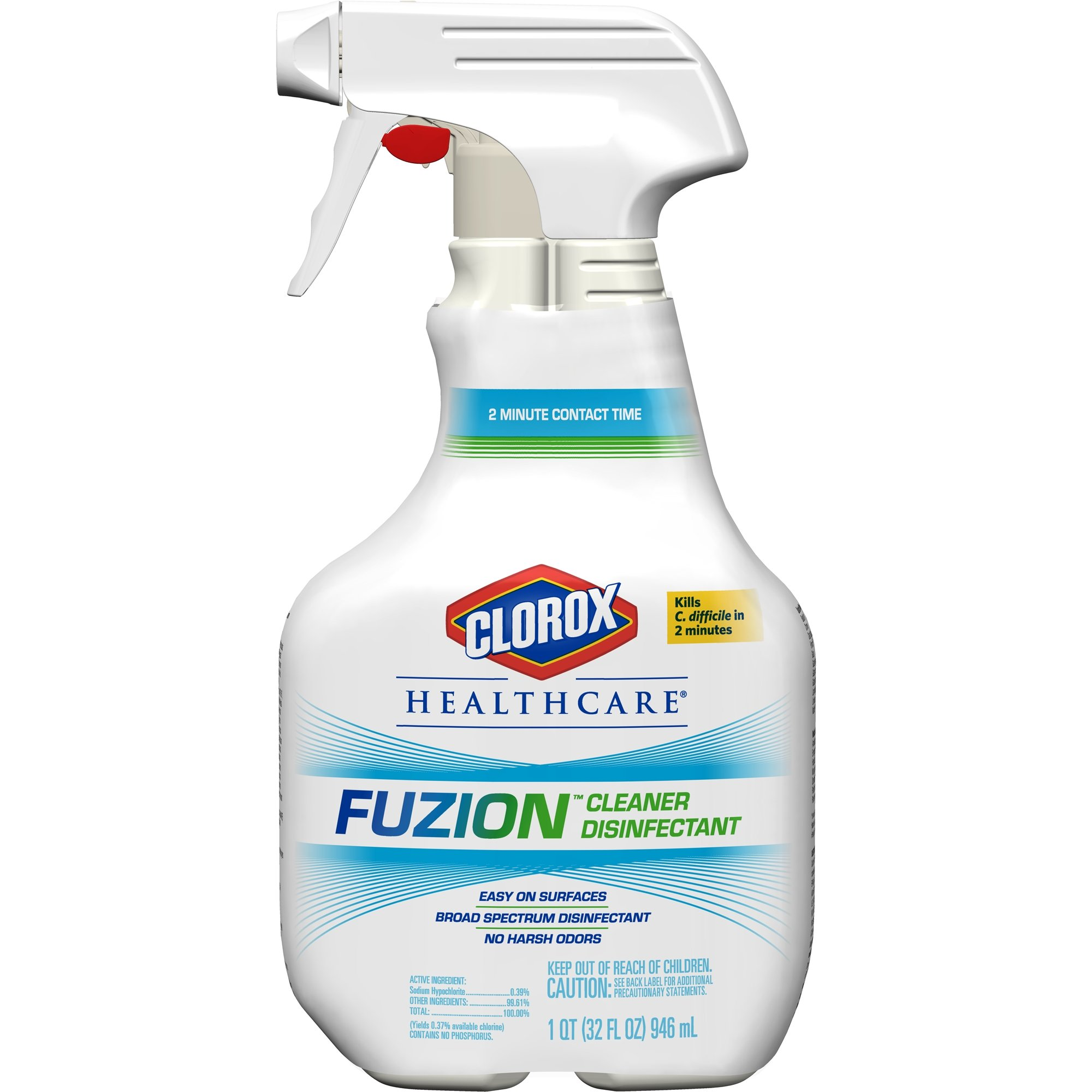 Clorox Healthcare Fuzion Cleaner Disinfectant, Spray, 32 Ounces, 9 Bottles/Case