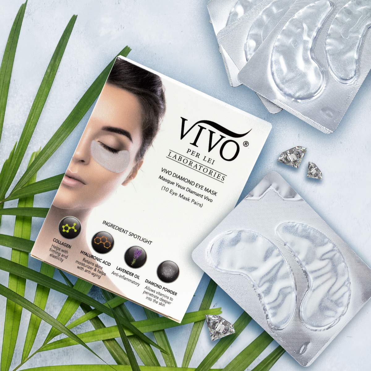 Vivo Per Lei Diamond Under Eye Patches | Collagen Eye Mask & Dark Circles Mask | Let Your Eyes Talk with this Anti Aging Under Eyes Bag Treatment | Collagen Eye Patch with Diamond Powder | Set of 10 by Vivo Per Lei (Image #4)