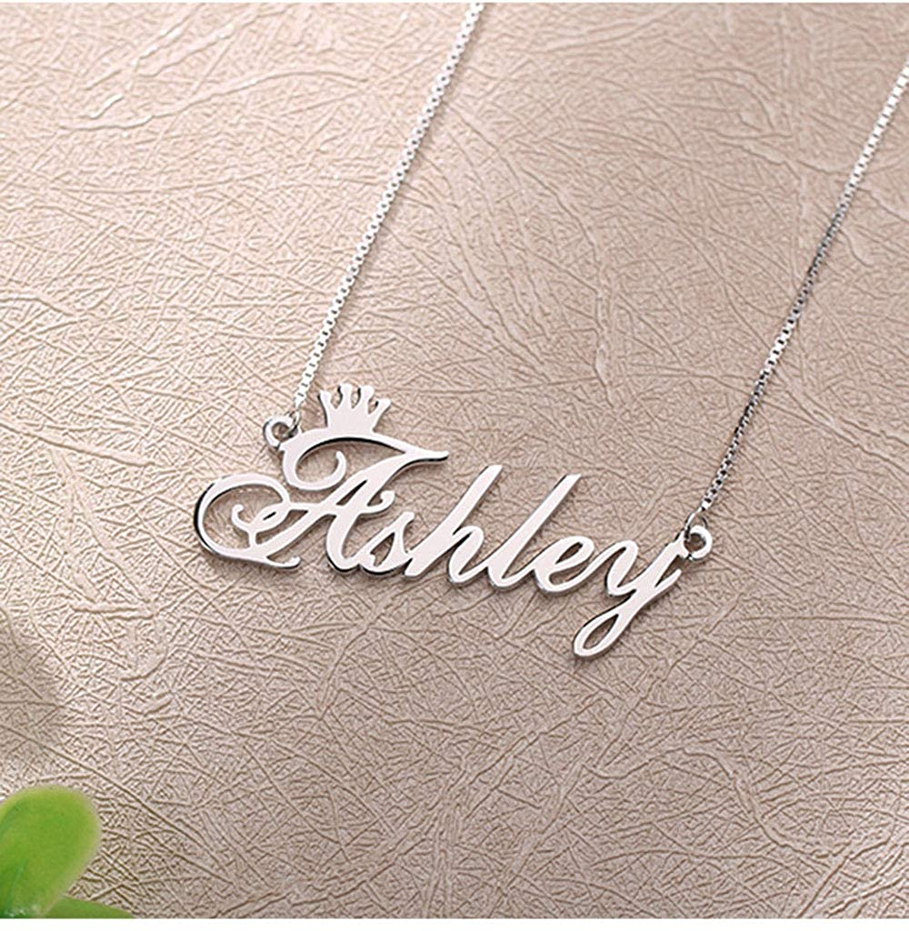 Custom 925 Sterling Silver Name Necklace Personalized Engraved Crown Pendant Chain Jewelry Gift for Women Girls
