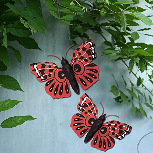 Mariposas decorativas para jardín, para decoración de pared, para exteriores, hogar, decorar un patio, valla, etc., rosso: Amazon.es: Jardín