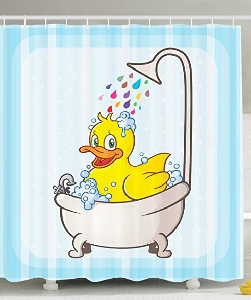 Kids Shower Curtain Nursery Animal Bathroom Decorations By Ambesonne,  Yellow Rubber Duck Taking Bubble Bath
