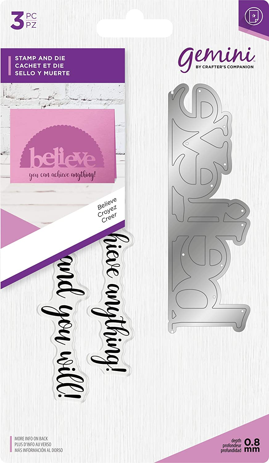 Crafters Companion Gemini-Stamp /& Die-Believe One Size Multi-Colour