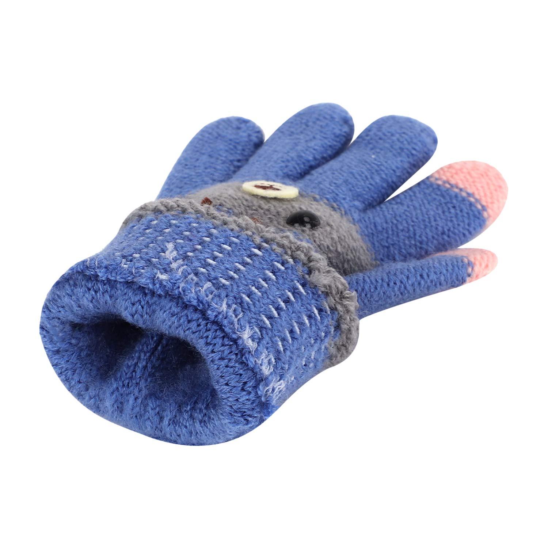 Kinder Warm F/ünf Finger Handschuhe Fingerhandschuhe Touchscreen Gestrickte Handschuhe Skihandchuhe F/äustlinge mit Fleecefutter Jungen M/ädchen Winterhandschuhe f/ür 3 bis 8 Jahren Alter