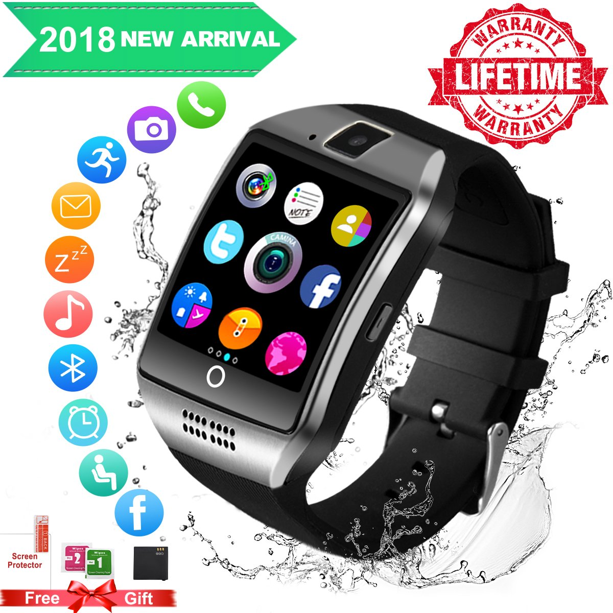 Smart Watch for Android Phones,Android Smartwatch Touchscreen with Camera,Waterproof Smart Watches,Bluetooth Watch Phone with SIM Card Slot Compatible Samsung IOS iPhone X 8 7 6 6S Plus 5 Men Women