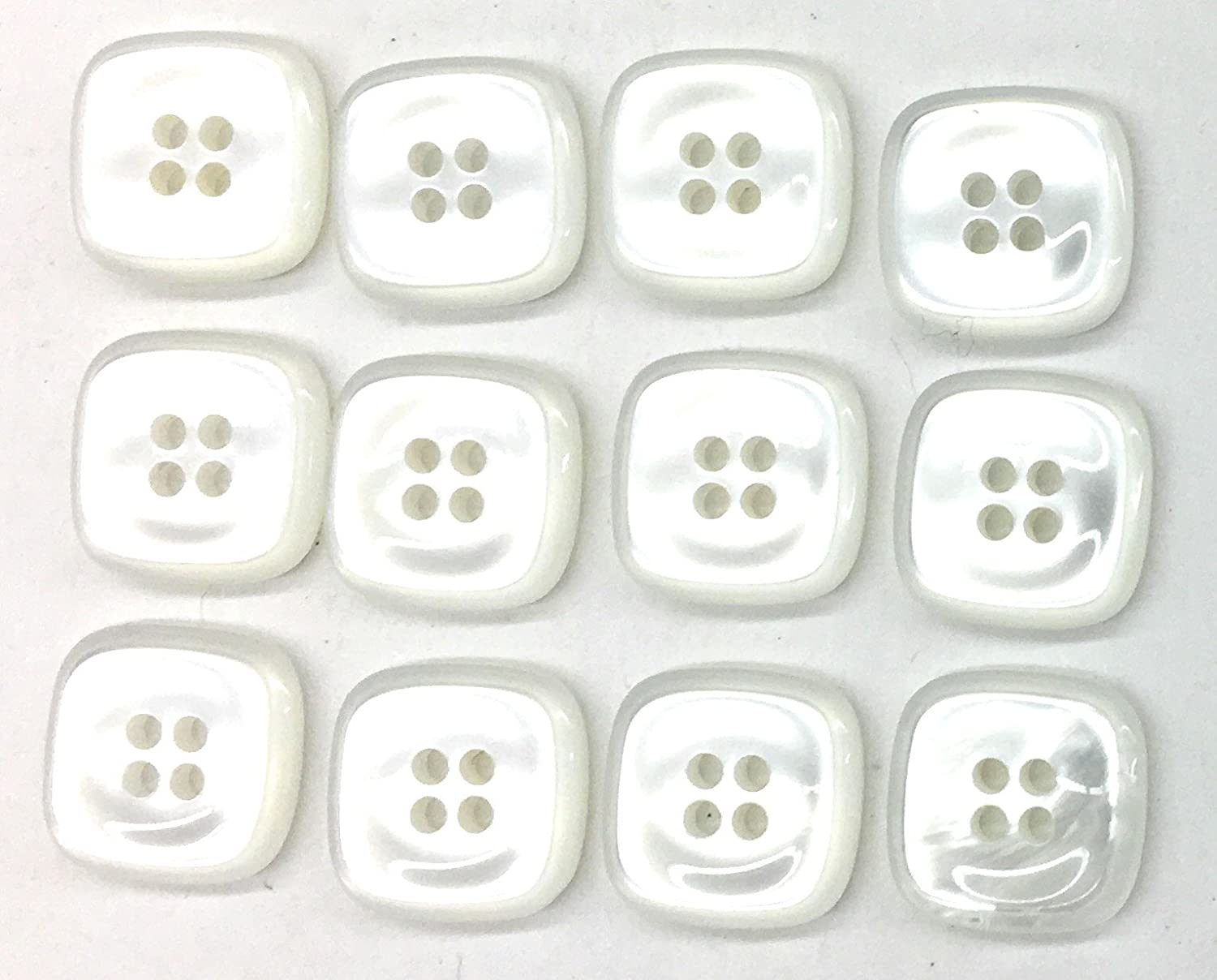 x 4 buttons 13mm White 2 Hole Button