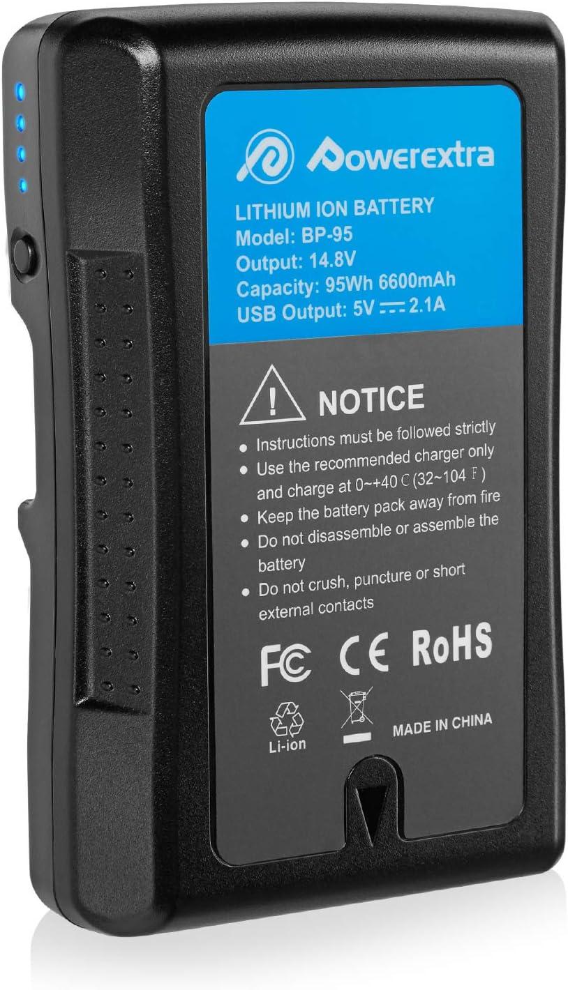 Powerextra V Mount Akku Für Sony Bp 95w Mit 6600mah Und Kamera