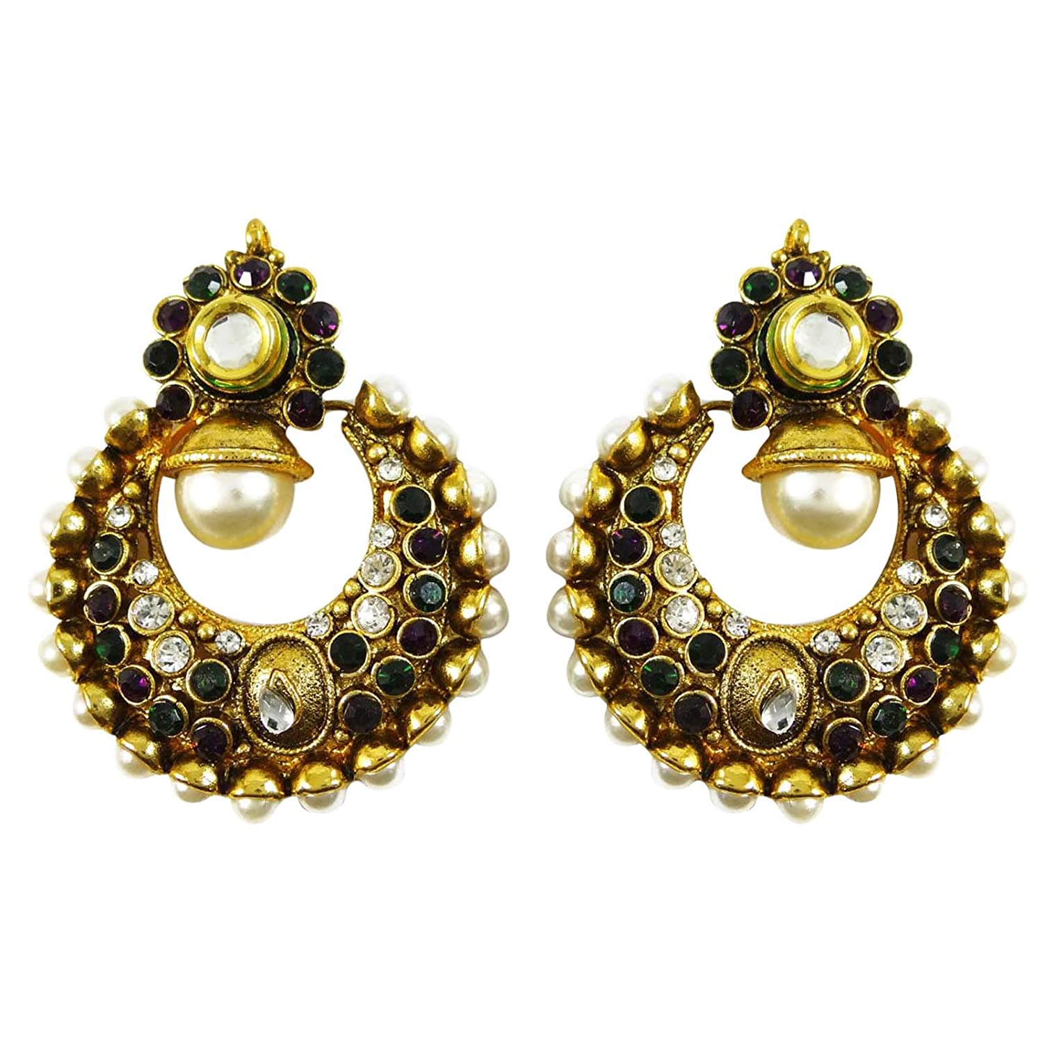Engagement & Wedding Jewelry & Watches Sporting Traditional Goldtone Acrylic Stone Dangle Earring Bollywood Women Jewellery