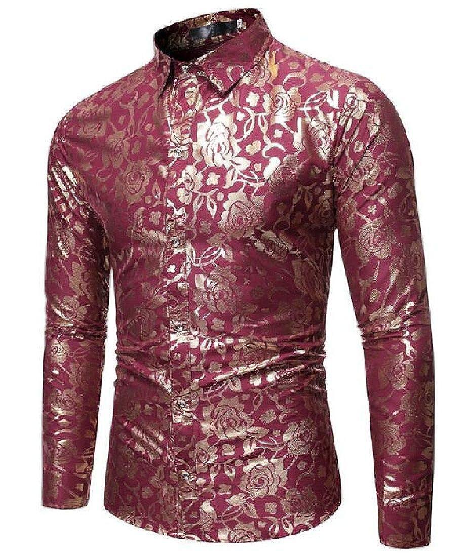 Abeaicoc Mens Floral Printing Long Sleeve Vogue Slim Fit Casual Shirt