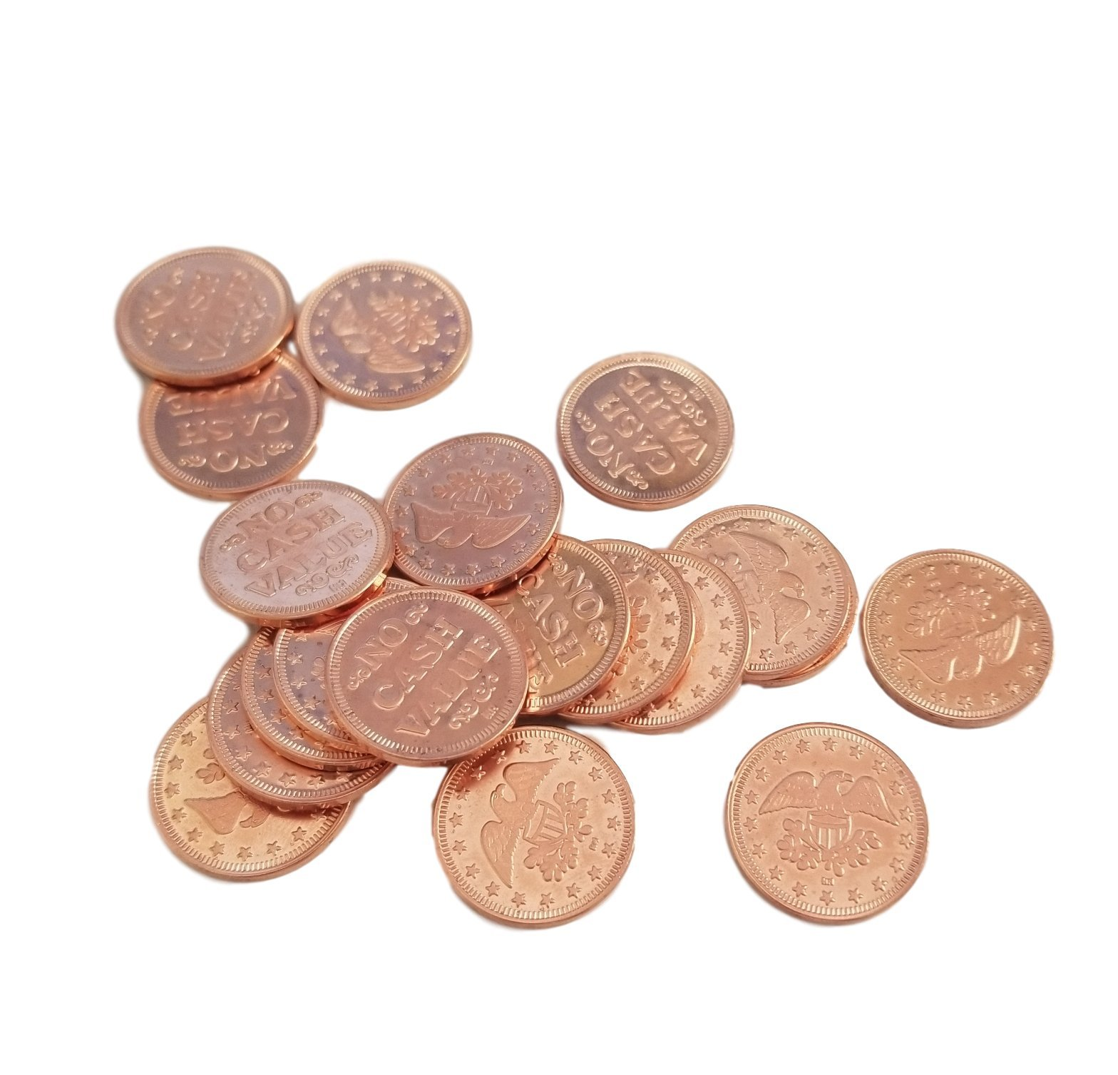 0.900'' in Diameter Eagle Design Arcade/Prize Metal Copper Color Tokens by MT Products - (Pack of 50 Tokens) (Please determine if correct size for your machine before ordering.)