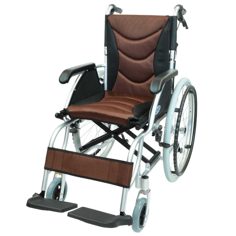 ケアテックジャパン 自走式 アルミ製 車椅子 CA-32SU ハピネスプレミアム (ブラウン) B01MY81VD3  ブラウン