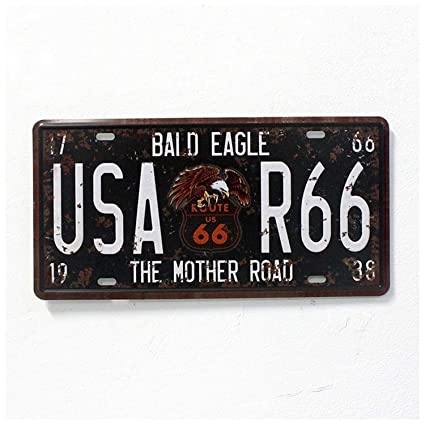 Amazon.com: Chitop USA Vintage Metal Tin Signs Route 66 Car Number License Plate Plaque Poster - Bar Club Wall Garage Home Decoration (15x30cm) (1): Home & ...