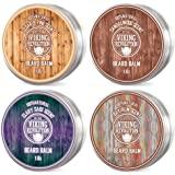 4 Beard Balm Variety Pack (1oz Each)- Sandalwood, Pine & Cedar, Bay Rum, Clary Sage- Styles, Strengthens & Softens Beards & M
