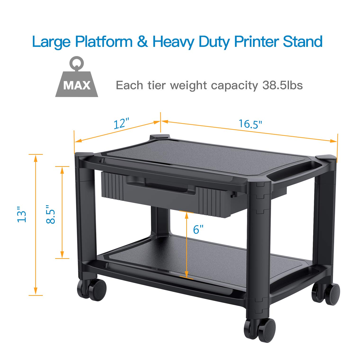 Printer Stand - Under Desk Printer Cart with 4 Rolling Wheels & Storage Drawer, Durable Printer Riser Shelf for Fax, Scanner, Office Supplies by HUANUO by HUANUO (Image #6)