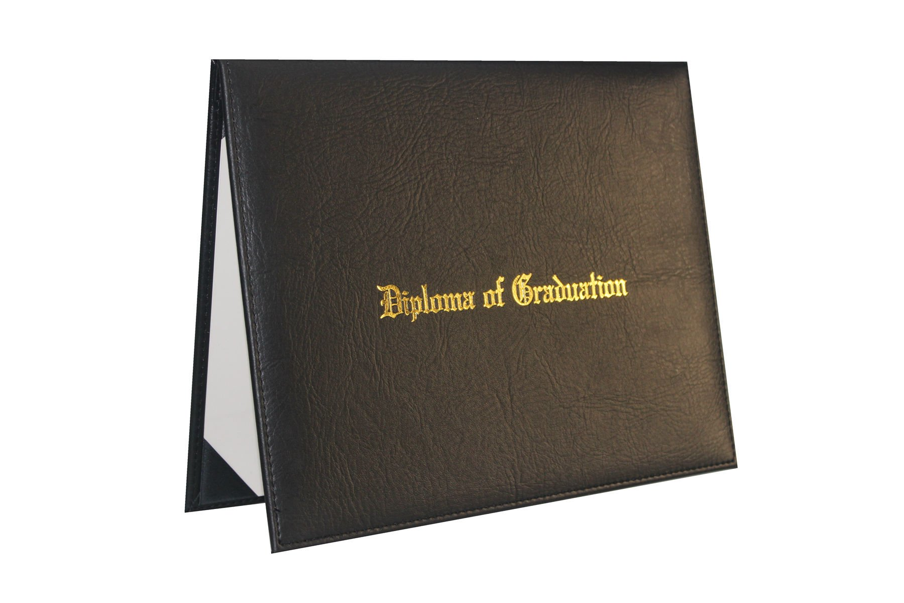 GraduationForYou PU Certificate Cover With ''Diploma Of Graduation'' Gold Foil Embossed, Four Ribbon Corner